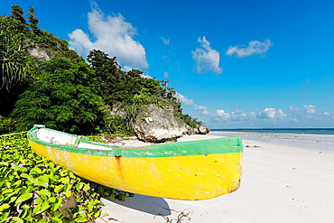 Colourful old canoe on beautiful white sand Bira Beach at this far South resort town; Tanjung Bira, South Sulawesi, Indonesia