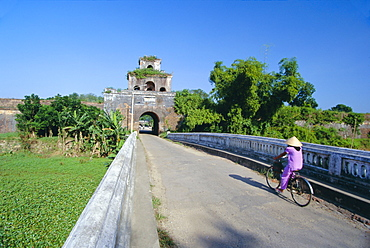 Walls of the citadel, historic former political capital, Hue, central Vietnam, Indochina, Southeast Asia, Asia