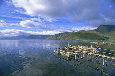 Fish rearing cages, Tongging, northern tip of Lake Toba, Southeast Asia's largest lake, North Sumatra, Sumatra, Indonesia, Southeast Asia, Asia