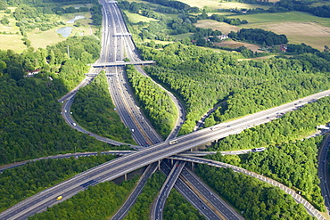 Aerial photo of M23 flyover M25, near Redhill, Surrey, England, United Kingdom, Europe