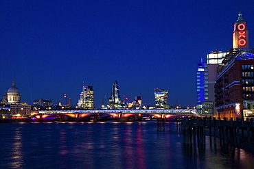 St. Paul's Cathedral, Blackfriars Bridge and River Thames at dusk, taken from South Bank, with Walkie-talkie, Cheesegrater, City of London and Oxo buildling, London, England, United Kingdom, Europe