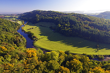 Autumn view north over Wye Valley from Symonds Yat Rock, Forest of Dean, Herefordshire, England, United Kingdom, Europe