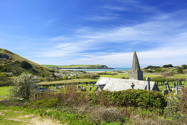 View of Camel Estuary from the churchyard of St. Enodoc Church, Rock, North Cornwall, England, United Kingdom, Europe