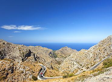 Twisting hairpin mountain road to Sa Calobra in northern Majorca, Balearic Islands, Spain, Mediterranean, Europe