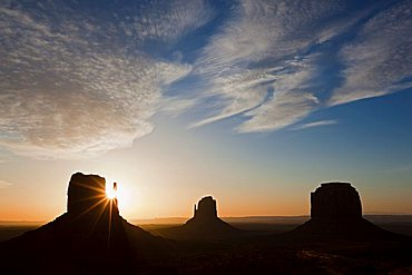 West Mitten Butte, East Mitten Butte and Merrick Butte at sunrise, Monument Valley, Colorado Plateau, Navajo Nation Reservation, Arizona, USA