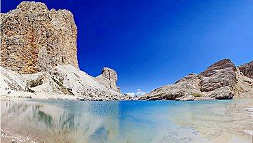 Antermoia glacier lake in the Catinaccio group, dolomites, Italy