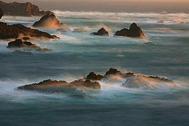 Surf of the Pacific Ocean, a long exposure, Highway No. 1, Fort Bragg, California, USA