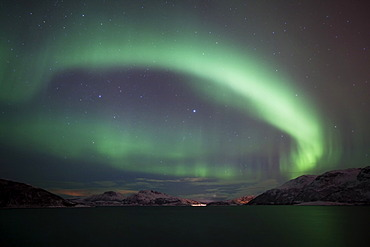 Northern Lights over the Gr√∏tfjord in winter, Kvaloya, Tromso, Norway, Europe