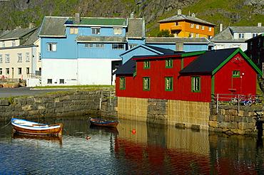 Colourful Rorbuer houses at the shore Stamsund Vestvagoya Lofoten Norway