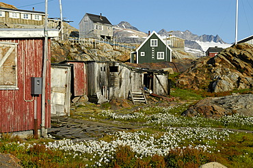 Run down settlement in summer Tiniteqilaaq Eastgreenland