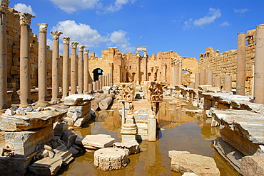Wide space with water Severan basilica Leptis Magna Libya