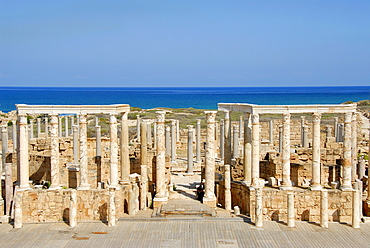 Stage with many pillars Roman theatre Leptis Magna Libya