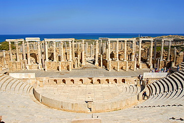 Tribune and stage with many pillars Roman theatre Leptis Magna Libya