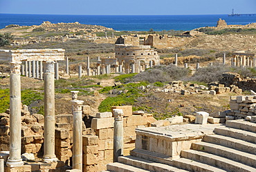 View from Roman theatre over the excavation site to market place Leptis Magna Libya