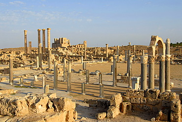 View of the Roman excavation site to the theatre Sabratha Libya