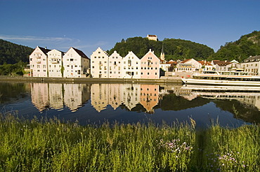 Town of Riedenburg with the Rosenburg castle above the Rhein Main Donau canal in the valley of the river Altmühl Altmuehl