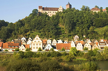 Rothenfels upon the river Main district of Main-Spessart Lower Frankonia Bavaria Germany with castle of Rothenfels