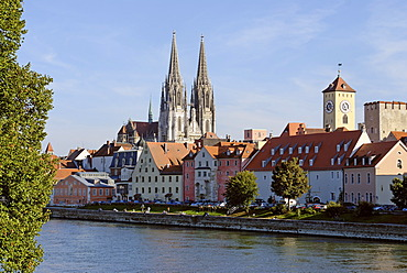 Regensburg Upper Palatinate Bavaria Germany Danube with the tower of the city hall and the cathedral