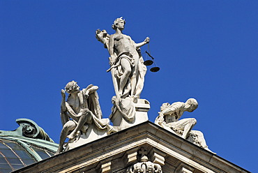 Lady Justice, Innocence and Vice on the palace of justice, Munich, Bavaria, Germany
