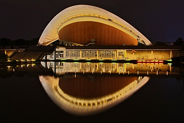 Haus der Kulturen der Welt, House of World Cultures, a congress hall, night shot, Berlin, Germany, Europe