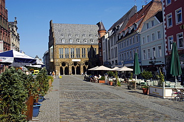 Market place with historical town hall, Minden, Teutoburg Forest, North Rhine-Westphalia, Germany