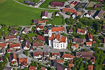 Aerial view, town of Steinhausen with the Pilgrimage Church of Our Lady and the Parish Church of St. Peter and Paul, Baden-Wuerttemberg, Germany, Europe