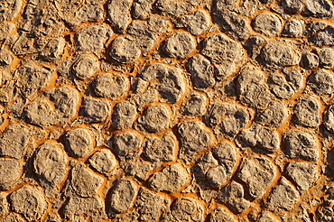 Broken surface of a salt and clay pan, In Tehak region, Acacus Mountains or Tadrart Acacus range, Tassili N'Ajjer National Park, Algeria, Sahara, North Africa