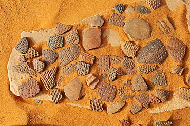 Pieces of historic pottery, Tadrart, Tassili n'Ajjer National Park, Unesco World Heritage Site, Algeria, Sahara, North Africa