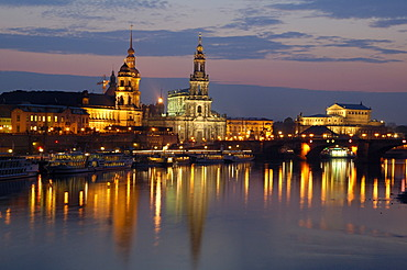 River Elbe historical buildings panorama at twilight Dresden Saxony Germany