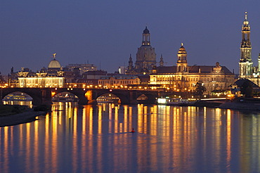 River Elbe panorama historical buildings at twilight Dresden Saxony Germany