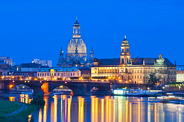Dresden at dusk, Elbe River, illuminated historic town centre, Staendehaus building, Frauenkirche, Church of Our Lady, Augustus Bridge, Saxony, Germany, Europe