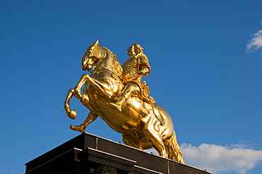 Golden Rider equestrian statue, New Town, Dresden, Saxony, Germany, Europe