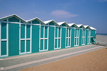 Beach hut on Adria in Riccione, Rimini, Italy