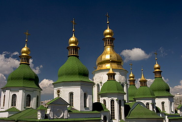Ukraine Kiev Sophien cathedral 1054 seven of 13 domes of the cathedral golden domes and crosses shines in the sun blue sky 2004