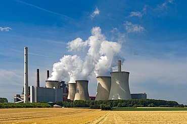 Neurath brown coal power station in the Rhineland region, North Rhine-Westphalia, Germany, Europe