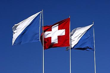 Flags of Switzerland and the Canton Zurich, Zurich, Switzerland