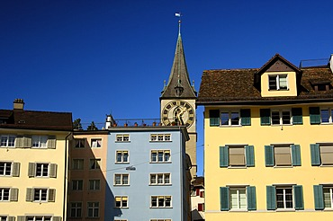 Muensterhof and church St. Petri in the old town, Zurich, Switzerland