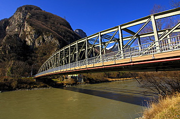 Steel bridge crossing Rhone River, near Chessel, Vaud, Switzerland, Europe
