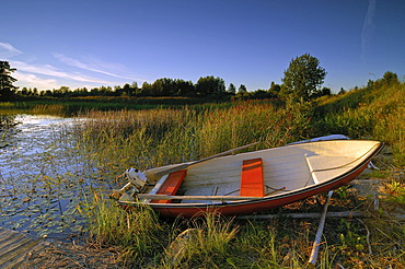 Wooden boat at a lake, Telemark, Norway, Scandinavia, Europe