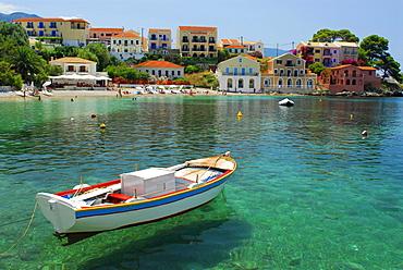 Port with beach, Fiscardo, Kefalonia, Ionian Islands, Greece