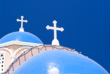 Blue domes of a chapel in Mykonos City, Cyclades, Greece, Europe