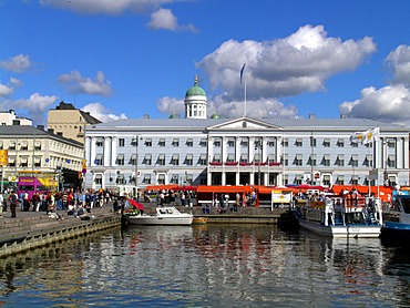 Harbour bassin at the central market in front of the townhall in Helsinki Finland