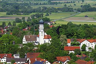 View from Hirschberg hill to Paehl, Alpine foothills, Five Lakes region, Pfaffenwinkel region, Upper Bavaria, Bavaria, Germany, Europe, PublicGround