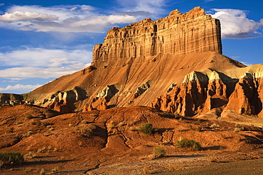 Morning light on Wild Horse Butte in Goblin Valley State Park, part of the San Rafael Swell desert in southern Utah, USA
