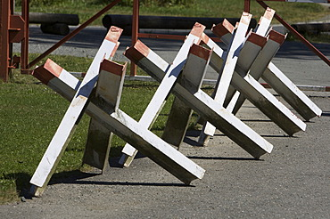 Border to the former GDR, chevaux de frise barriers, open-air aread of the German-German Museum Moedlareuth, Bavaria - Thuringia, Germany, Europe