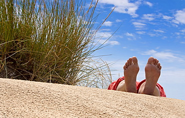 Feet of a woman lying in the dunes