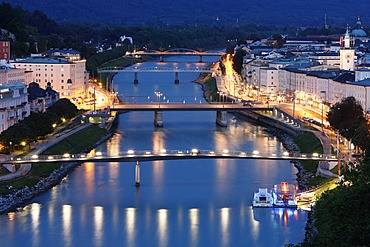Historic district of Salzburg with Salzach River, view from Humboldt-Terrace, Austria, Europe