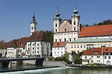 St. Michael Church, Steyr River, Steyr, Upper Austria, Austria, Europe