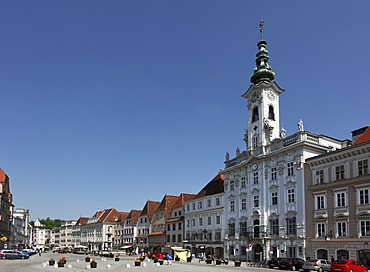 Town square with the town hall, Steyr, Upper Austria, Austria, Europe