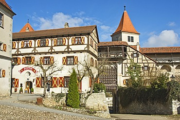 Inner courtyard, Harburg Castle, Mauren, Bavaria, Germany
